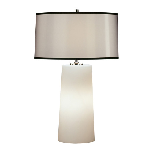Shown in Small Frosted White Cased Glass Base with Black Organza Fabric Shade