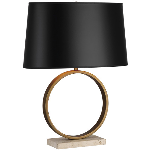 Shown in Aged Brass with Travertine Stone Base with Black Painted Opaque Parchment Shade