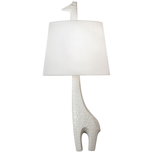 Shown in Ceramic with White Glaze with White Linen Fabric With Rolled Edge Hem Shade