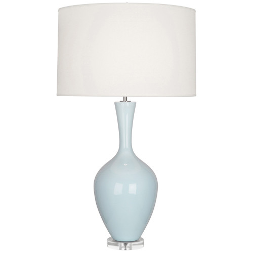 Shown in Baby Blue Glazed Ceramic with Fondine Fabric Shade