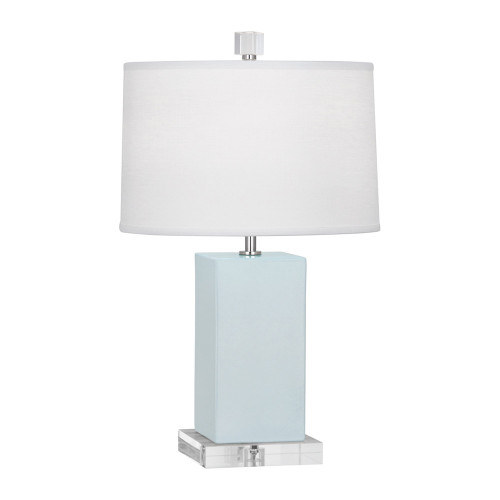 Shown in Baby Blue Glazed Ceramic with Oyster Linen With Self Fabric Top Diffuser Shade