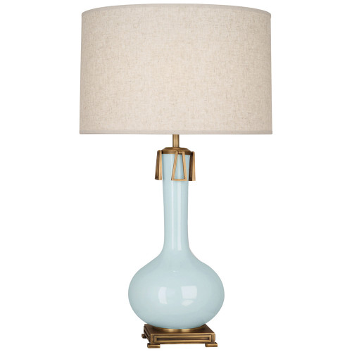 Shown in Baby Blue Glazed Ceramic with Aged Brass Accents with Open Weave Heather Linen Shade