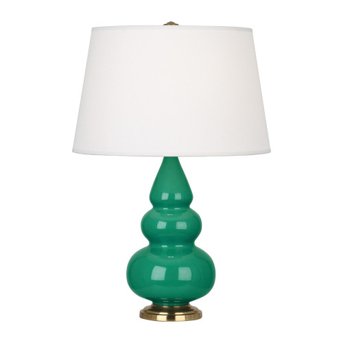 Shown in Brass Emerald Green Glazed Ceramic with Pearl Dupioni Fabric Shade