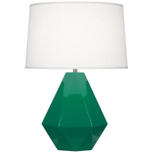 Shown in Emerald Green Glazed Ceramic with Polished Nickel Accents with Oyster Linen Shade