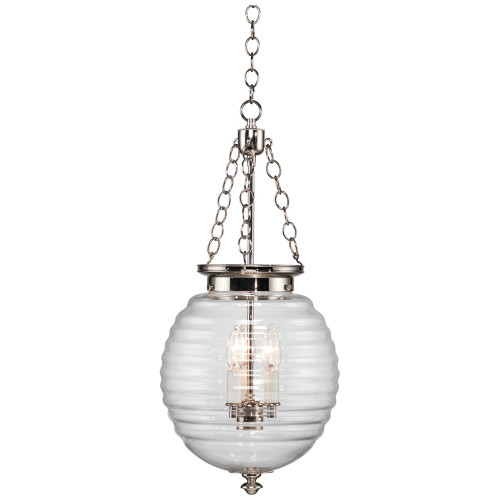 Shown in Polished Nickel with Clear Glass Shade
