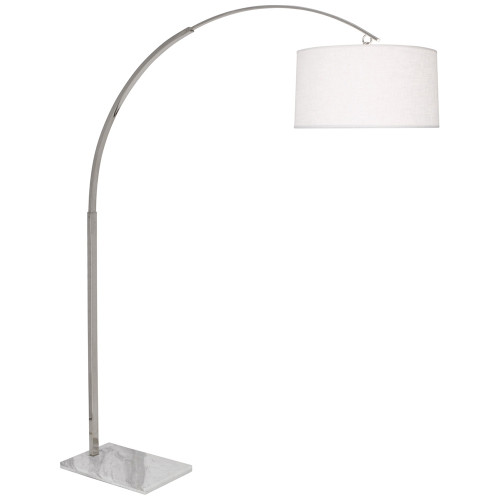 Shown in Polished Nickel with White Brussels Linen With Self Fabric Bottom Shade