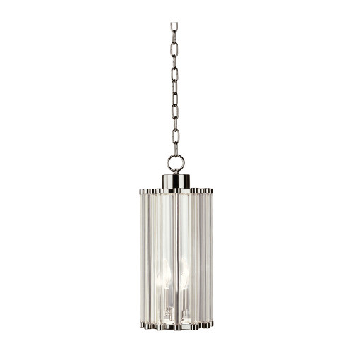 Shown in Small Polished Nickel with Clear Glass Rods With Clear Inner Glass Shade