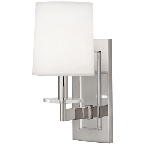 Shown in Polished Nickel with Lucite Accents with Pearl Dupoini Fabric Shade