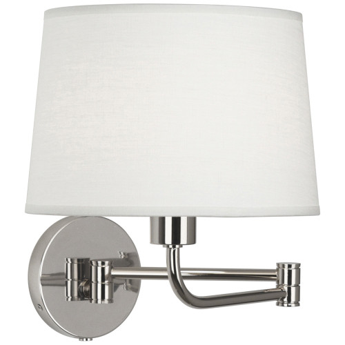 Shown in Polished Nickel with Oyster Linen Shade