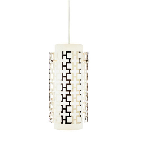 Shown in Polished Nickel with Frosted White Cased Glass With Perforated Me Shade