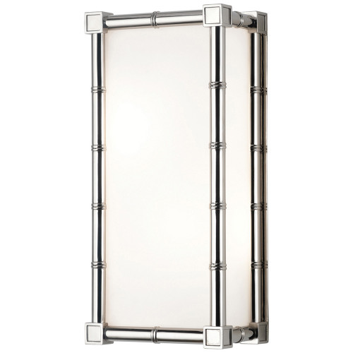 Shown in Small Polished Nickel with Frosted White Glass Shade