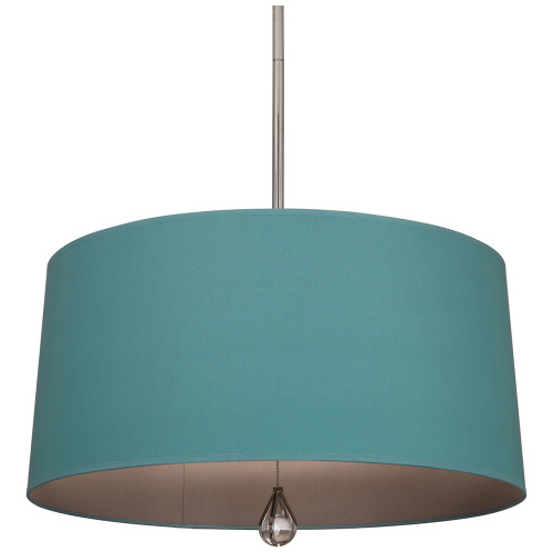 Shown in Polished Nickel Polished Nickel with Mayo Teal Fabric With Carter Gray Lining Shade