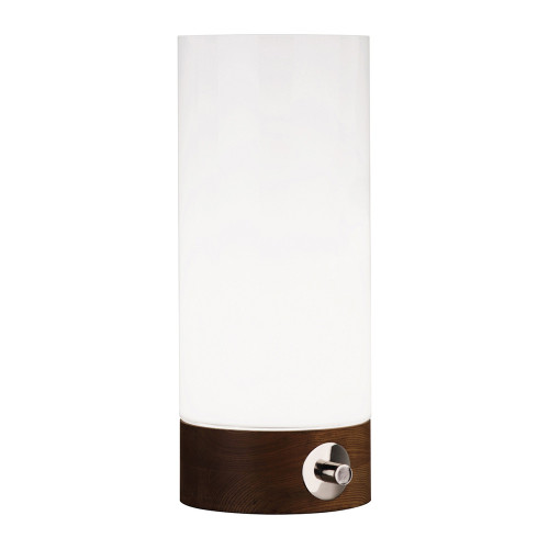 Shown in Small Walnuted Wood Base with White Cased Glass Shade