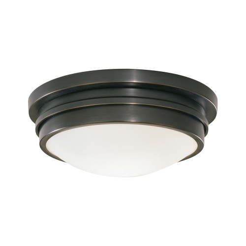 Shown in Small Deep Patina Bronze with White Frosted Glass Shade