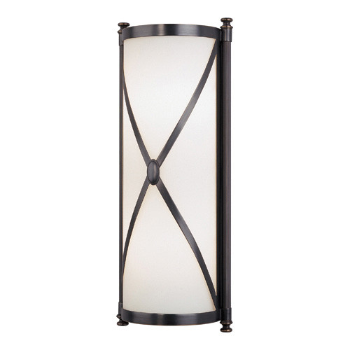 Shown in Deep Patina Bronze with Frosted White Cased Glass Shade