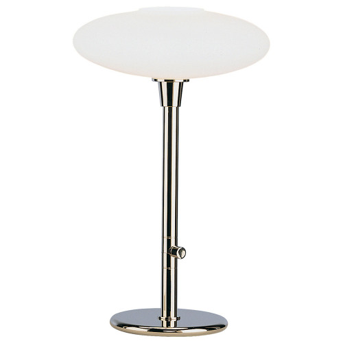 Shown in Polished Nickel with Frosted White Cased Glass Shade