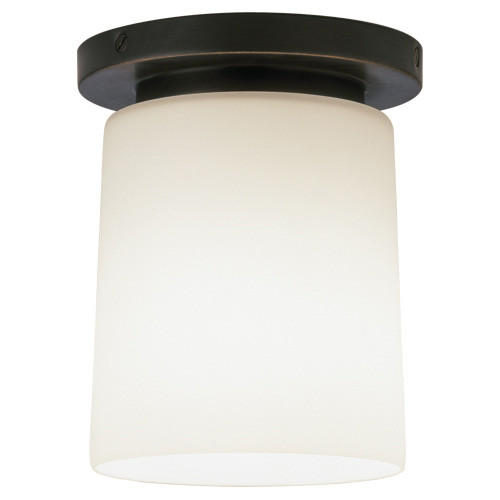 Shown in Small Deep Patina Bronze with Frosted White Cased Glass Shade