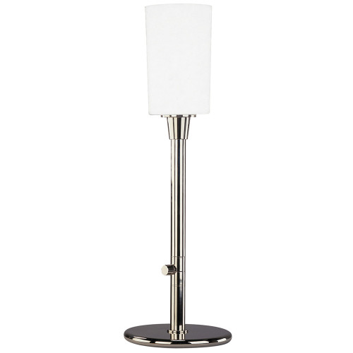 Shown in Polished Nickel with White Frosted Cased Glass Shade