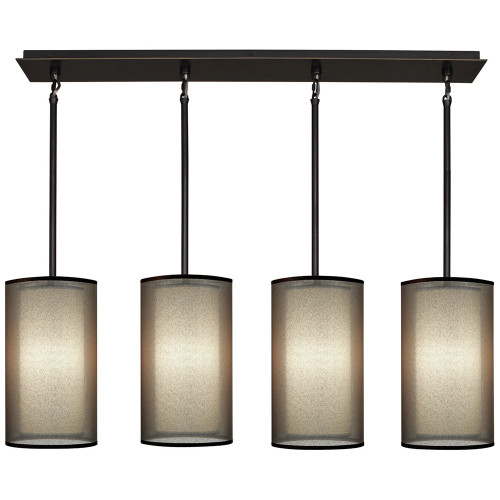 Shown in Deep Patina Bronze with Bronze Transparent Fabric Exterior Shade