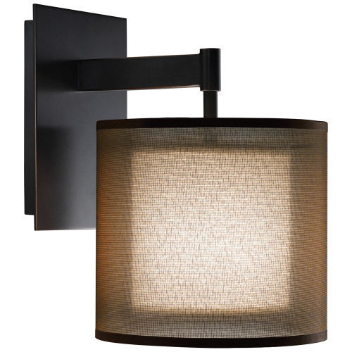 Shown in Deep Patina Bronze with Bronze Transparent Fabric Exterior Shade and White Interior Shade