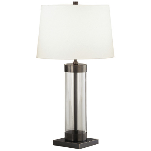 Shown in Small Clear Glass Cylinder with Deep Patina Bronze Accents with Off White Cotton With Rolle