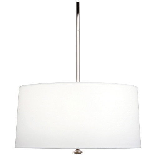 Shown in Polished Nickel with Ascot White Fabric Shade