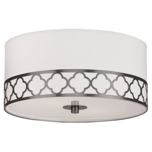 Shown in Patina Nickel with Pearl Dupoini Fabric With Decorative Metal B Shade