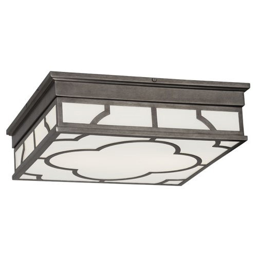 Shown in Patina Nickel with White Glass Panels Shade
