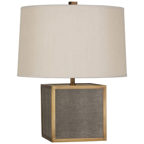 Shown in Small Faux Brown Snakeskin Wrapped Base w/ Aged Brass Accents with Taupe Dupoini Fabric Sha