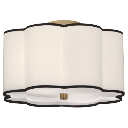 Shown in Aged Brass with Scalloped Fondine Fabric With Contrasting Tr Shade