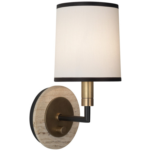 Shown in Aged Brass with Cocoa Brown Accents with Fondine Fabric With Contrasting Trim Shade