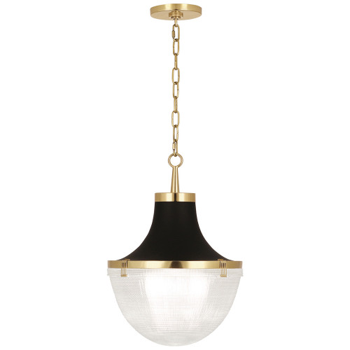 Shown in Small Modern Brass with Matte Black Shade Hood with Clear Halophane Glass Shade