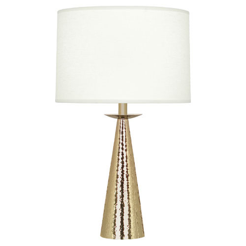 Shown in Small Modern Brass with Oyster Linen Shade
