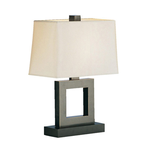 Shown in Small Deep Patina Bronze with Rectangular Snowflake Fabric Shade