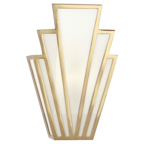 Shown in Modern Brass with White Glass Panels Shade