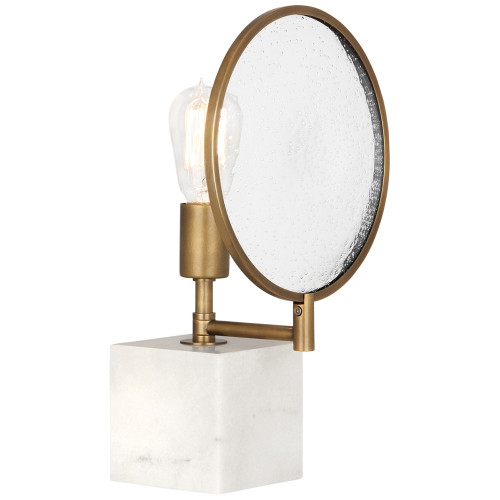 Shown in Alabaster Stone Base and Aged Brass - Clear Seeded Glass Lens