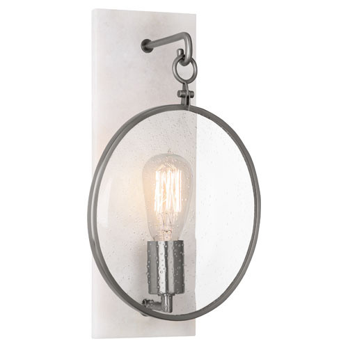 Shown in Dark Antique Nickel with Alabaster Stone Back Plate with Clear Seeded Glass Lens Shade
