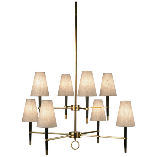 Shown in Ebonyed Wood with Antique Brassed Accents with Natural Linen With Rolled Edge Hem Shade