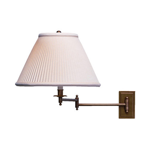Shown in Antique Brass with Natural Side Pleat Fabric Shade