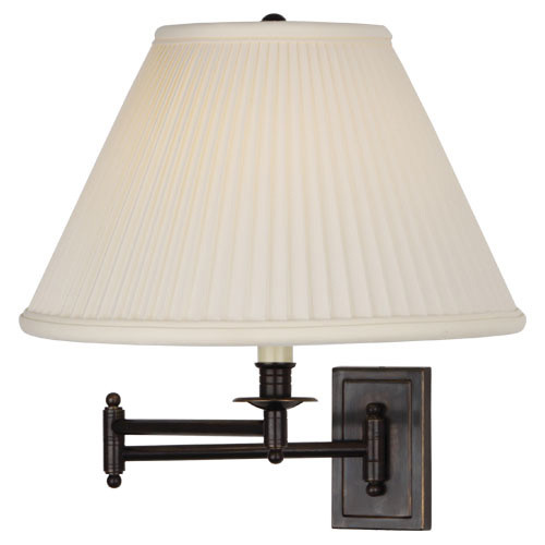 Shown in Deep Patina Bronze with Natural Side Pleat Fabric Shade