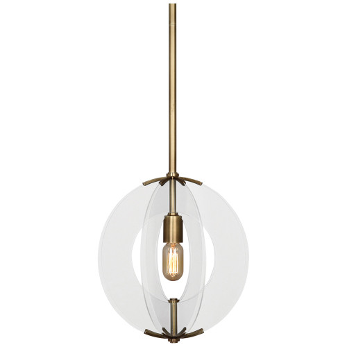 Shown in Aged Brass with Clear Glass Accents with Glass Shade