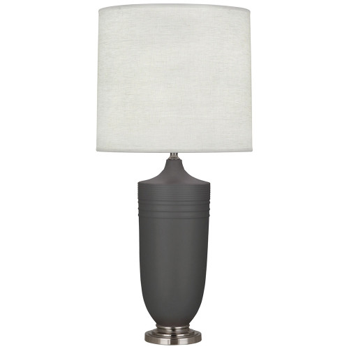 Shown in Matte Ash Glazed Ceramic with Dark Antique Nickel Accents with Oyster Linen Shade