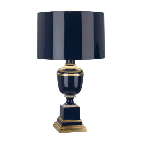 Shown in Small Cobalt Lacquered with Cobalted Opaque Parchment Shade With Matte Gold Lining Natural