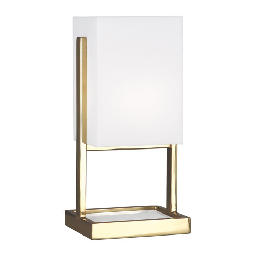 Shown in Small Modern Brass and White Marble with Frosted White Acrylic Shade