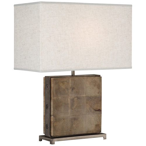 Shown in Unfinished Mango Wood with Patina Nickel Accents with Open Weave Heather Linen Shade