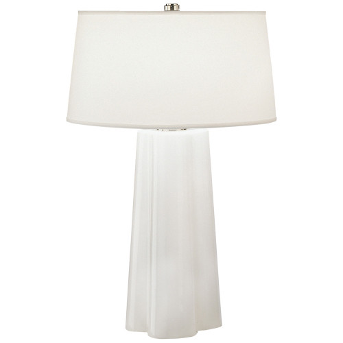 Shown in White Cased Glass with Polished Nickel Accents with Translucent White Mont Blanc Parchment