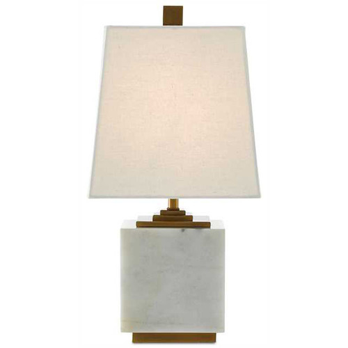 Shown in White/Antique Brass with White Linen Shade