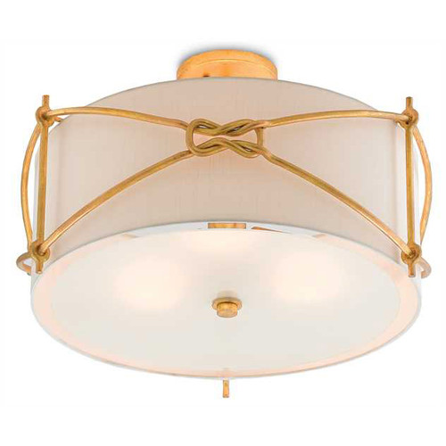 Shown in Contemporary Gold Leaf/Frosted Glass with Off White Shantung Shade