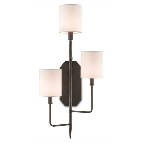 Shown in Oil Rubbed Bronze with Off White Shantung Shade