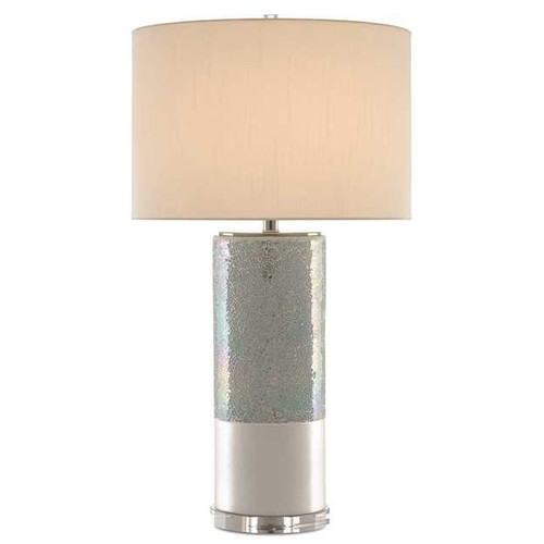 Shown in Pearl Glaze/Polished Nickel with Off White Shantung Shade